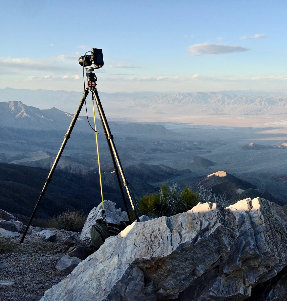 My camera perched on a ledge overlooking Death Valley