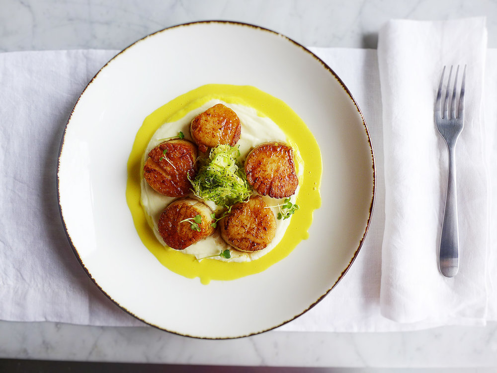 sea scallops with cauliflower purée with shaved Brussels sprout with saffron fennel sauce  copy.jpg