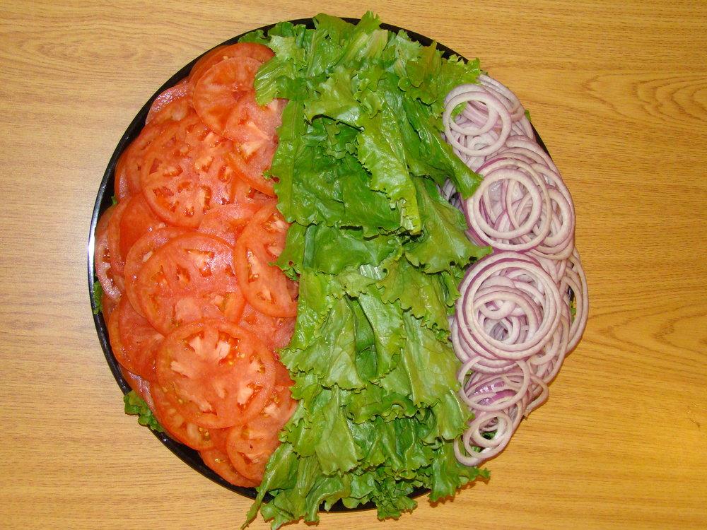Lettuce, tomato, onion platter -