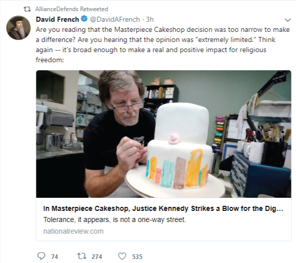 "Alliance Defending Freedom retweets David French who claims that the Supreme Court decision is ""broad enough to make a real and positive impact for religious freedom."""