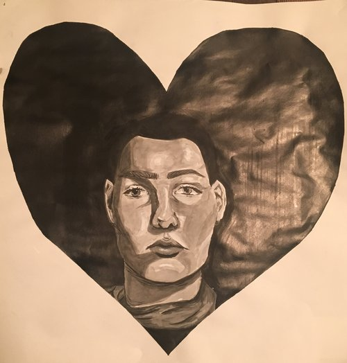 "Self (Portrait) Love , Arlo Van Liew - 12"" x 12"" - Sumi ink - $150 starting bid"