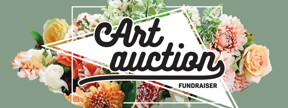 "Image Description: Green background behind a digital rendering of a colorful flower arrangement expanding outside of a box, which inside centers the title, ""Art Auction Fundraiser"""