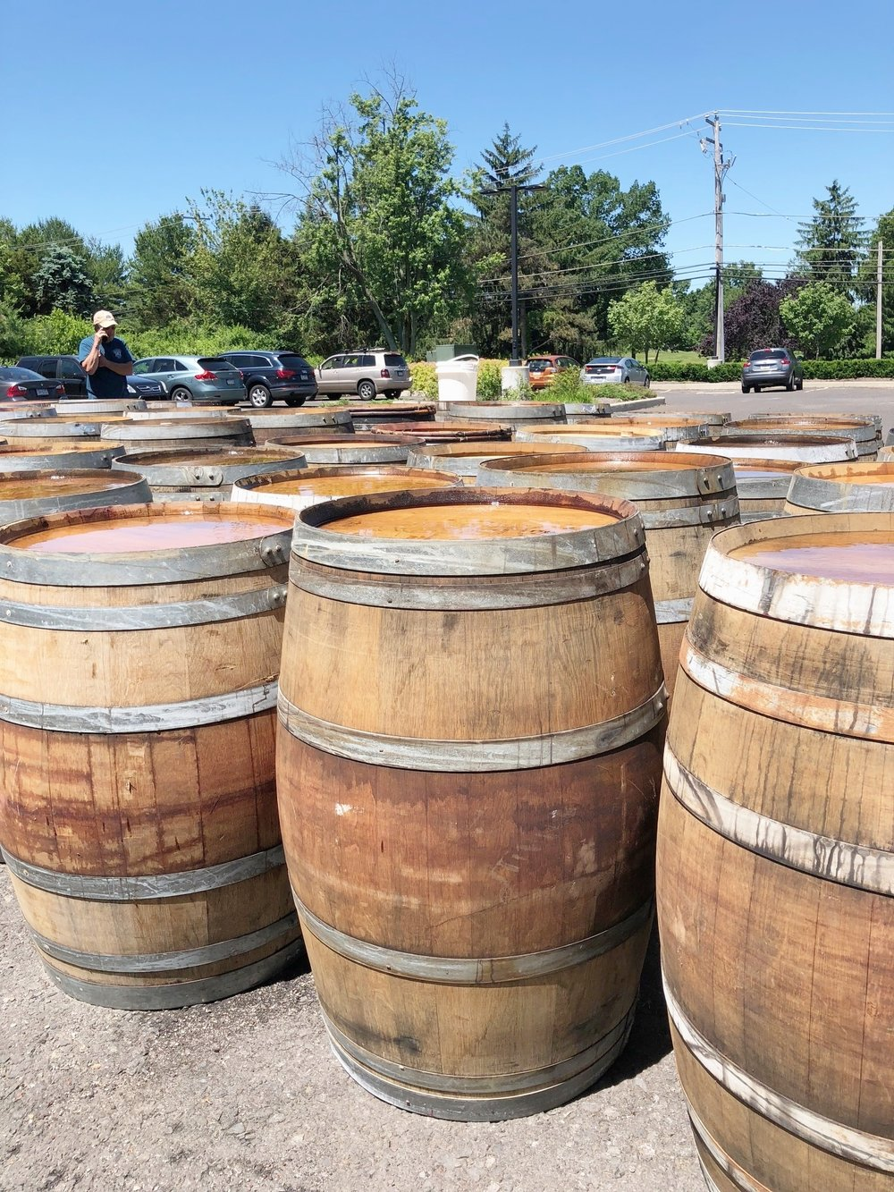 "Used Wine Barrels, 60 gallon - Dimensions vary based on cooperage, and style but average size is: 36"" Height 23"" Diameter$75 eachsold as-is"