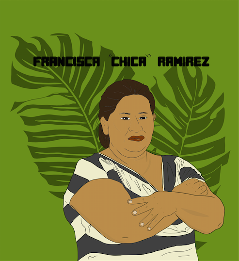 "Francisca ""Chica"" Ramirez. Doña Chica was born in 1977 in La Fonseca, Nueva Guinea (a municipality in the South Caribbean Coast Autonomous Region of Nicaragua). She is a bad ass farmer & campesino rights activist. She has been organizing and leading grassroots mobilization's/ protests against the Ortega-Murillo dictatorship since 2014.  Doña Chica founded the nonpartisan National Council for the Defense of the Land, Lake and Sovereignty (Consejo Nacional para la Defensa de la Tierra, Lago y Soberanía). Despite being offered bribes and threats to her and her family she doesn't belong to a political party & isn't backing down.  Like the incredible Berta Cáceres, the Honduran environment activist & like all of us, Doña Chica es la hijx de la tierra."