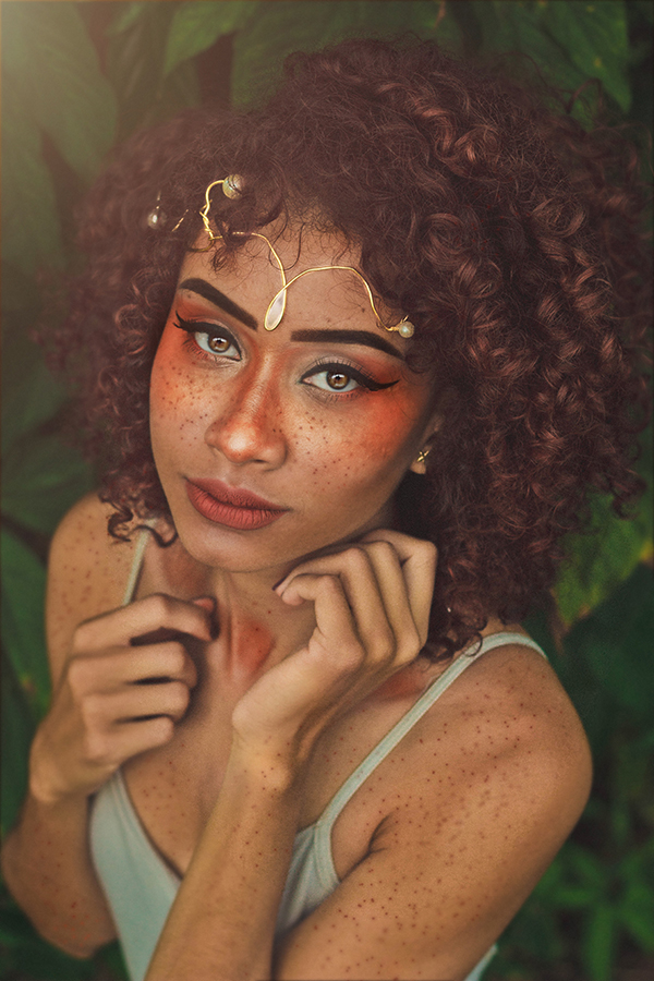 girl with unique makeup and jewelry