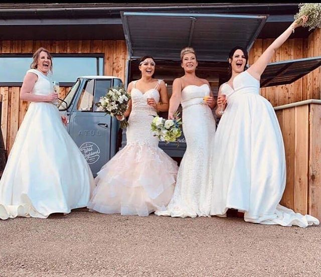 Why have one beautiful bride when you can have four?! 👰🏻👰🏼👰🏻👰🏼 Four of the absolutely stunning models posing with The Wee Dram Van outside @coco_salon_spa  yesterday 😍💖🥂 #highlandwedding #theweedramvan #wildhighlanddrinksco #highlandbrides #wedding