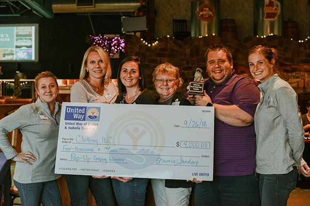 Thank you to everyone who came out last night to support local nonprofits. Congratulations to @clothingincmp for earning the most votes and taking home the cash prize of $4,000 to help clothe people in our communities! The Isabella Community Soup Kitchen & Foster Closet of Isabella County didn't go home empty-handed, ICSK was awarded $2,000 and the Foster Closet was awarded $1,000. #PUG