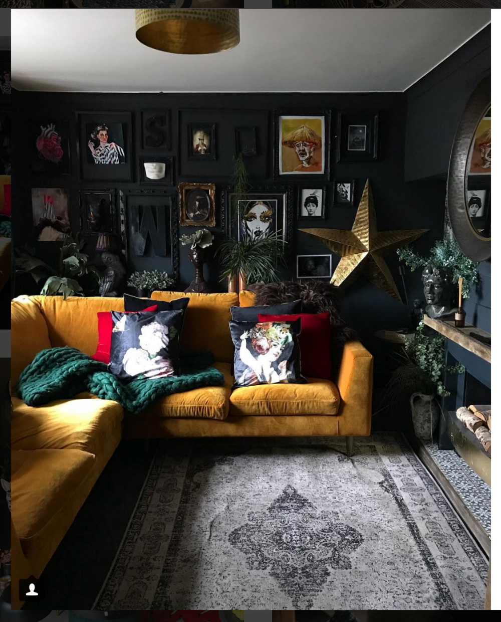 the velvet sofa of my dreams - Seen on the Hilary and Flow instagram account. Which is dark and dreamy and you feel like you might get lost wandering around in this forest of amazingness.