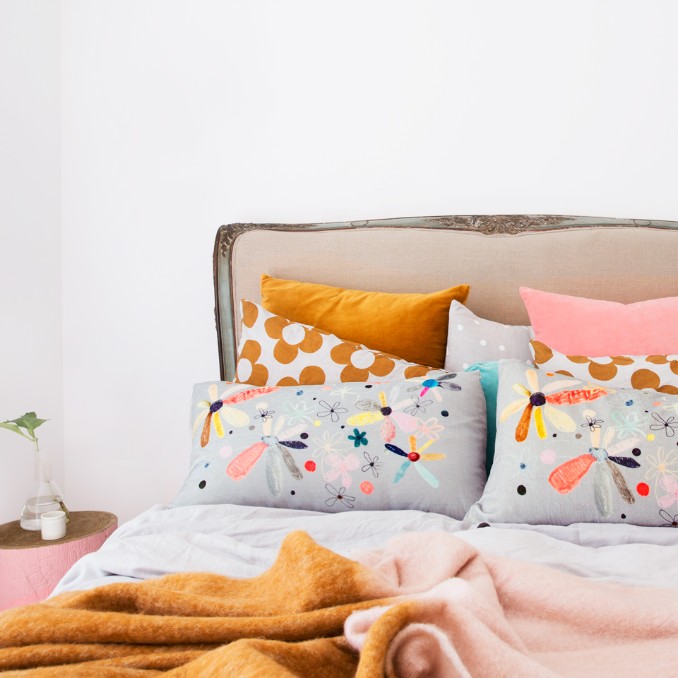 Rachel Castle is the master at using this color, butterscotch as she refers to it. Just look at this bedding. - I'm not worthy -- Her work is so amazing. Fast walk so quick your booty shimmies to and fro over to her site and purchase it all. For me. k'thanks.