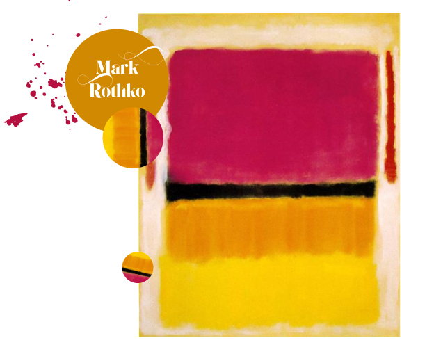 Violet, Black, Orange,Yellow on White andRedMark Rothko 1949 - You can see this work in person at the Guggenheim. Isn't this a daring and wonderful palette.