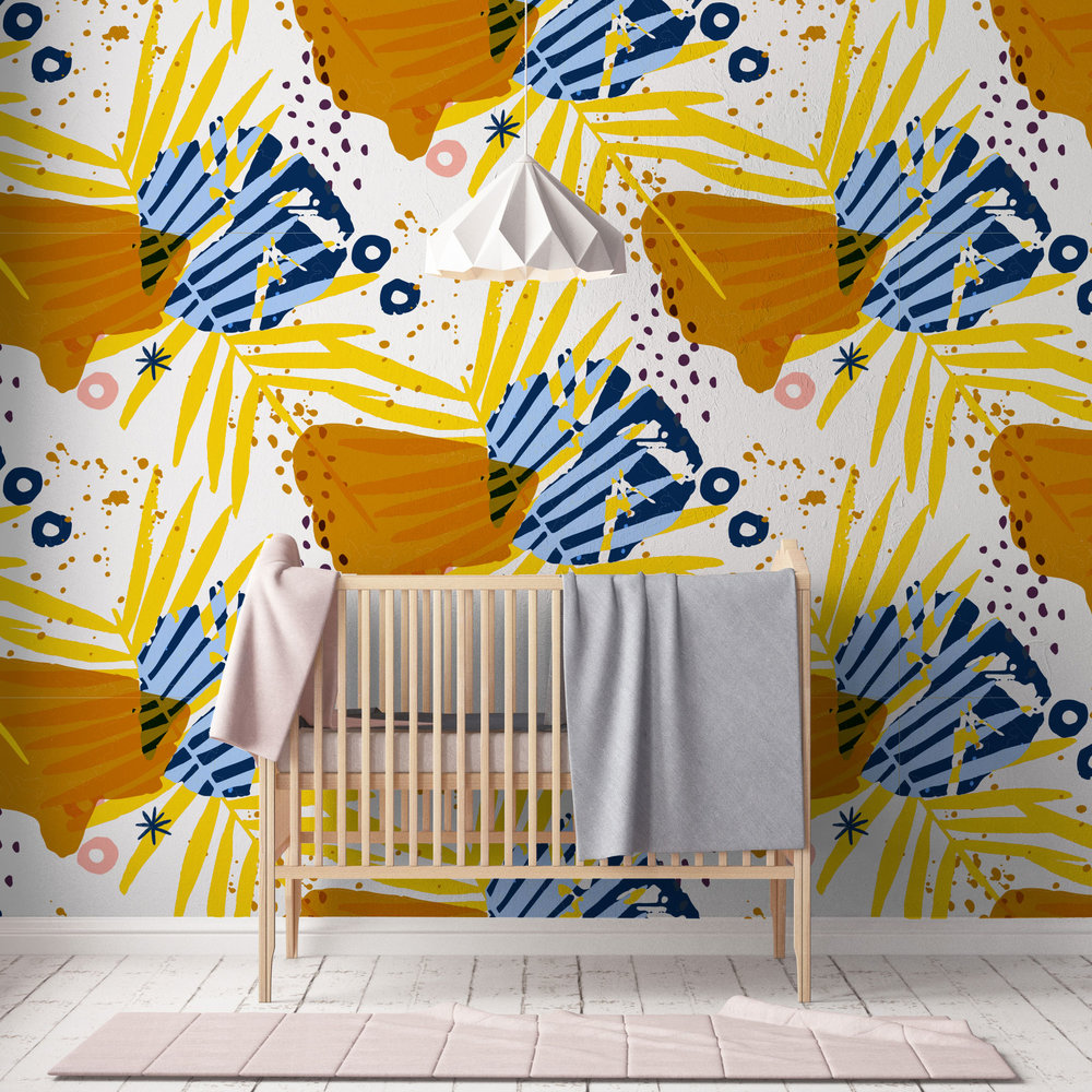 Maybe choose a patterned wallpaper - With pops of marigold.