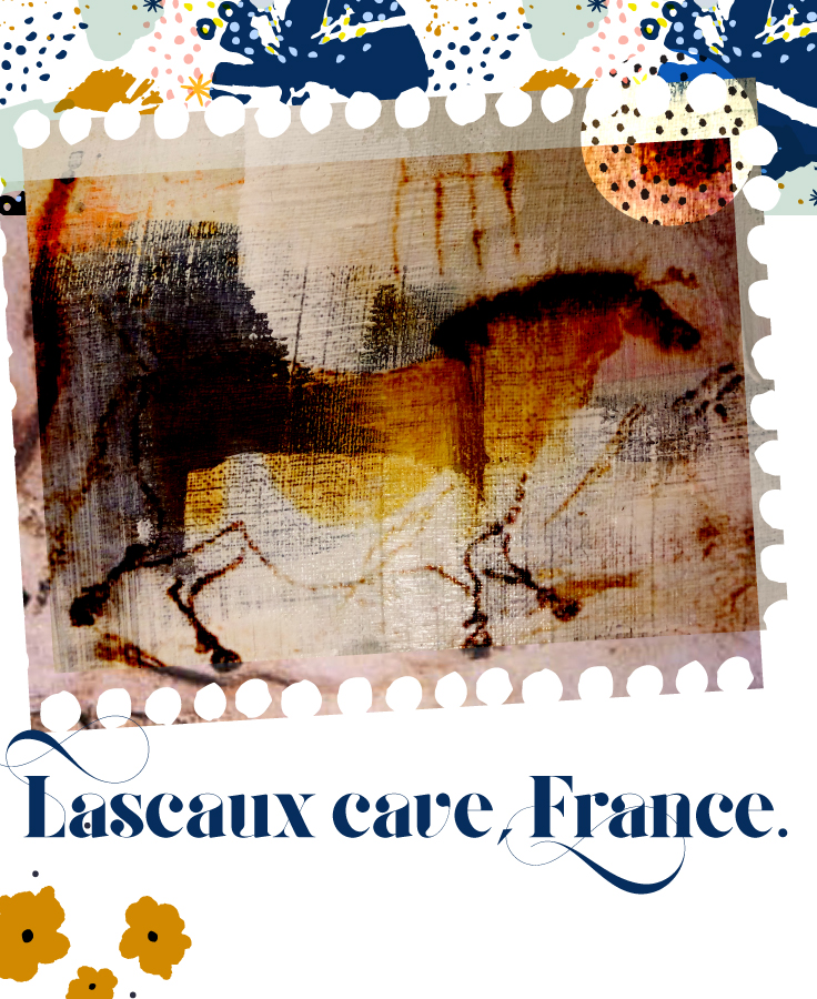 One of the first recorded uses of color was this marigold shade of ochre - found in the Lascaux Caves in France. - I found this image on wikicommons and added some treatments to it.