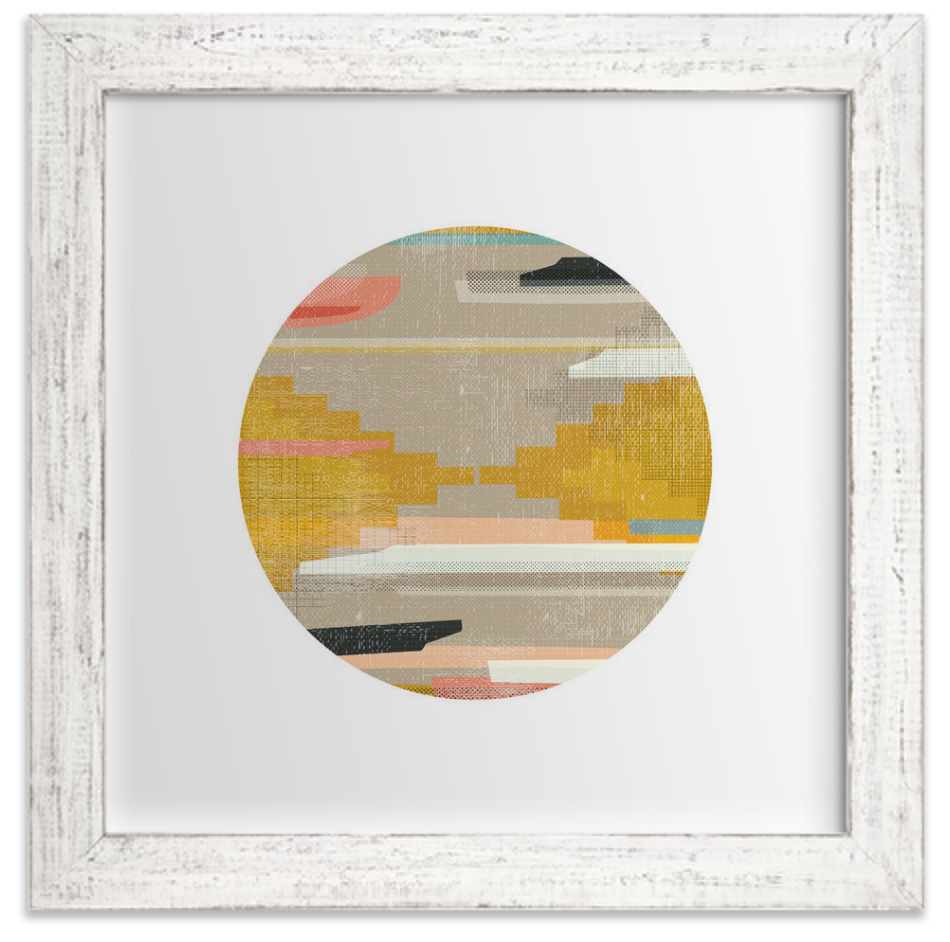 WOVEN PIECES IS PART OF A SERIES OF GRAPHICALLY RENDERED WEAVINGS. - You can see marigold plays a strong starring role in this piece.BUY HERE!