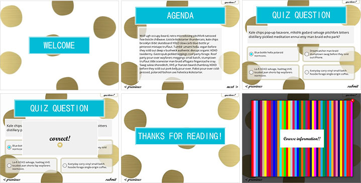"""A sample of a template design, for a """"E-Learning Heroes"""" challenge on Articulate.com."""