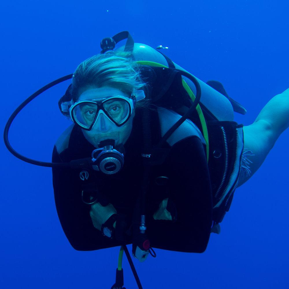 Perrine Reidy - MONITRICE   CMAS 3* et INSTRUCTEUR SSI   À travers son doux accent marseillais, Perrine sème un peu de Méditerranée dans ce monde de brute, à la frontière de la polynésie et des profondeurs de l'océan pacifique…