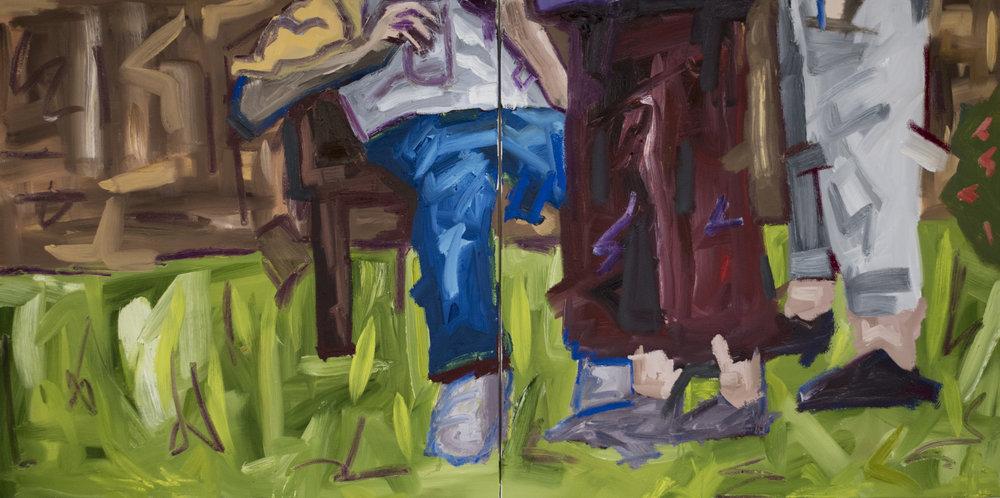 FRIDAY FEET,   2018   Oil on canvas  200cm x 100cm