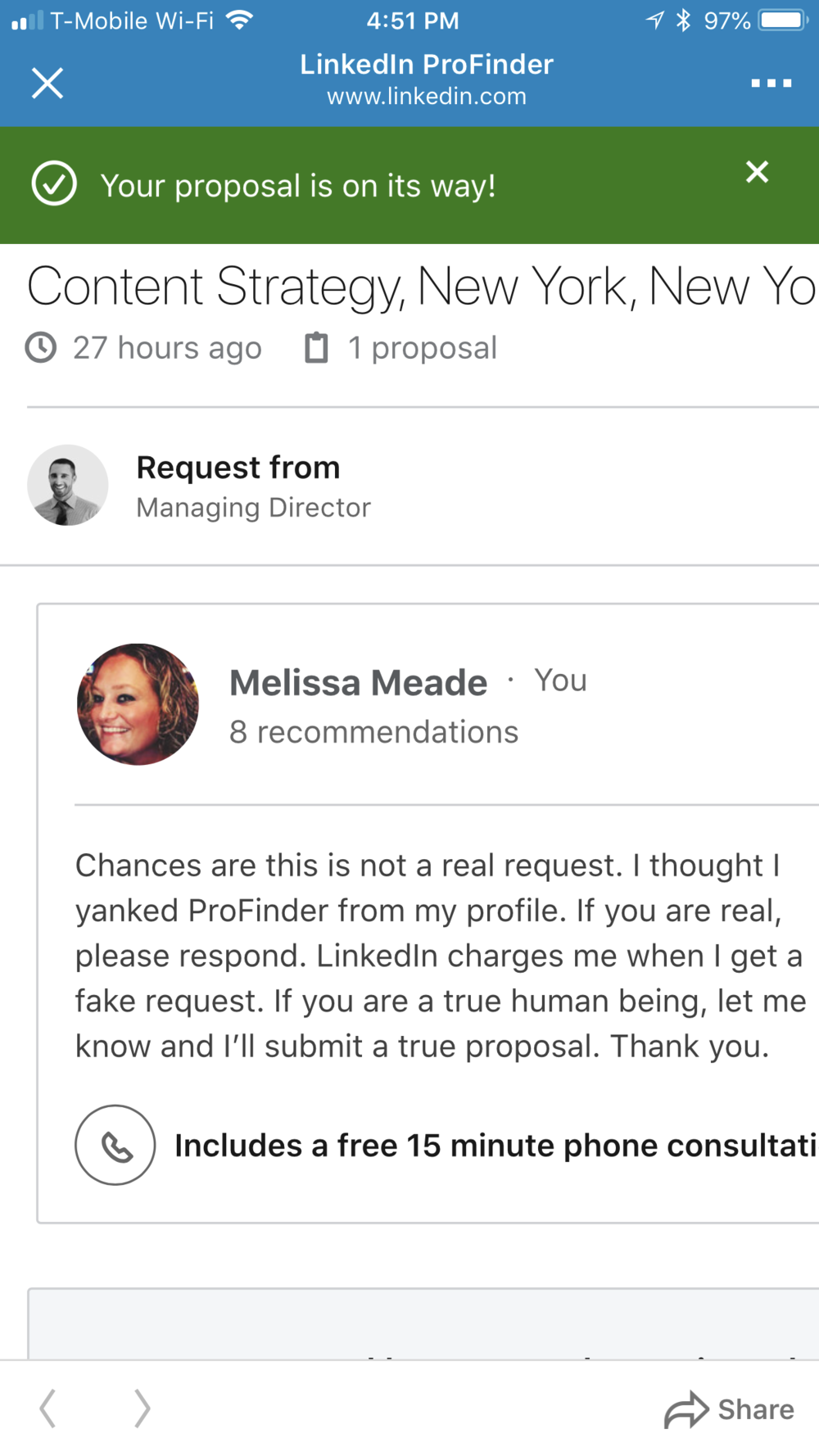 LinkedIn Phony Request