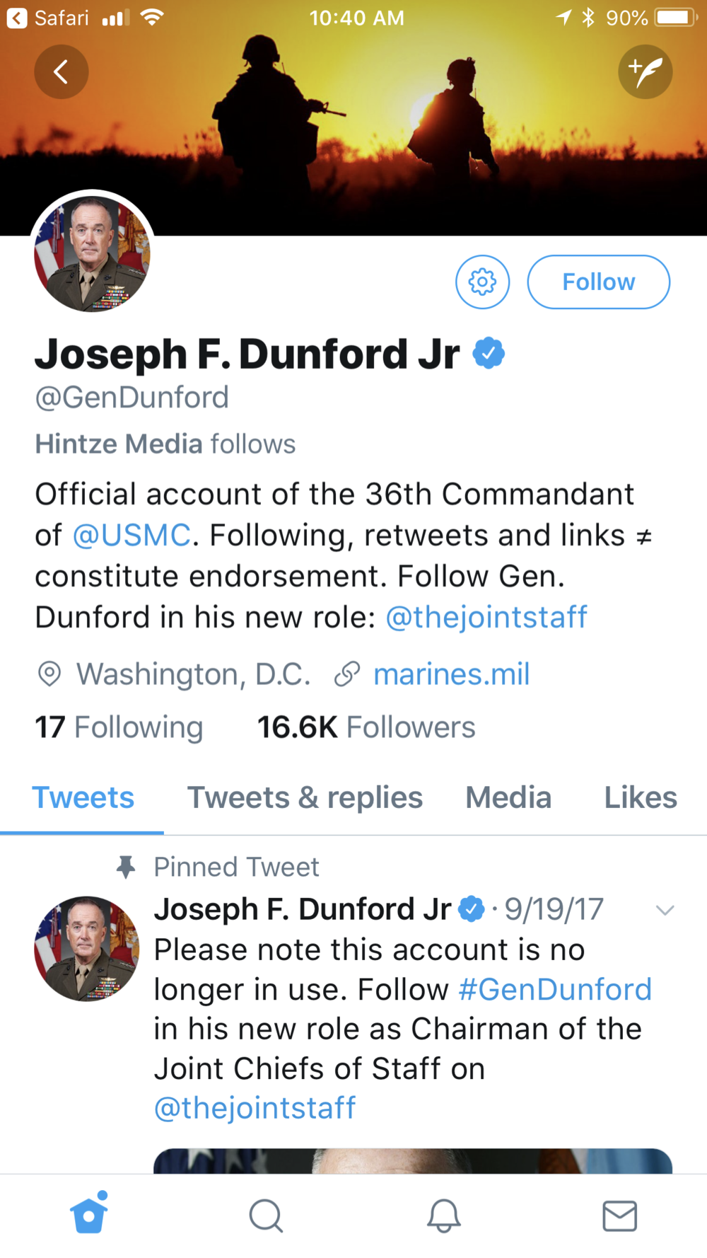 The Verified Dunford Account