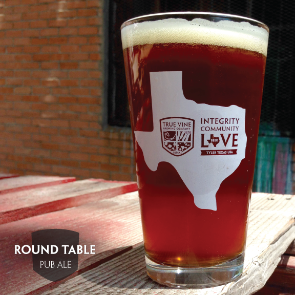 Round Table - AMBER PUB ALE 5.2%  |  35 IBURound Table is our smooth drinking, every occasion, family table beer. It's mild roast, toast and malty backbone balanced with smooth noble hops make this beer a perfect addition to the True Vine line.We like to think that Round Table is as if New Castle and Fat Tire got together and made a large cage fighting child. As are all of True Vine's year around offerings, this flavor bursting table beer is to be shared with friends and family. Because after all,