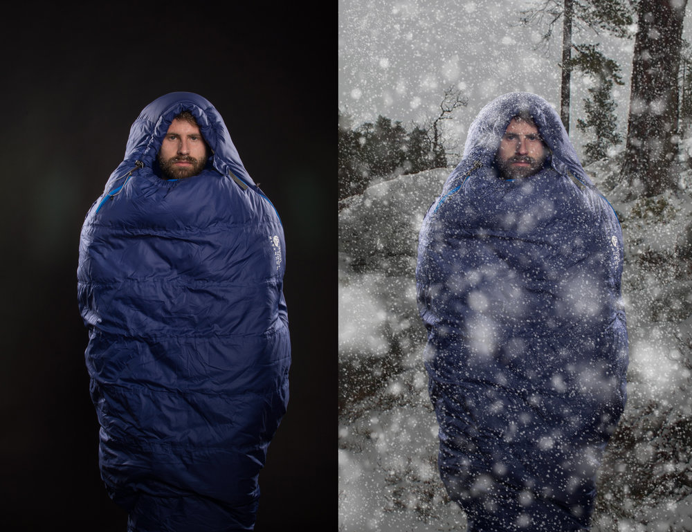 Before (left) and After (right) of Concept Photoshoot of the Mountain Hardware Lamina Torch Z Sleeping Bag.