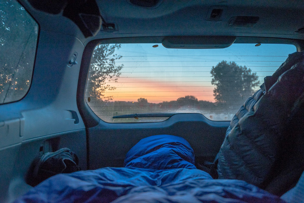 My view upon waking up in my car one morning as I passed through Kansas