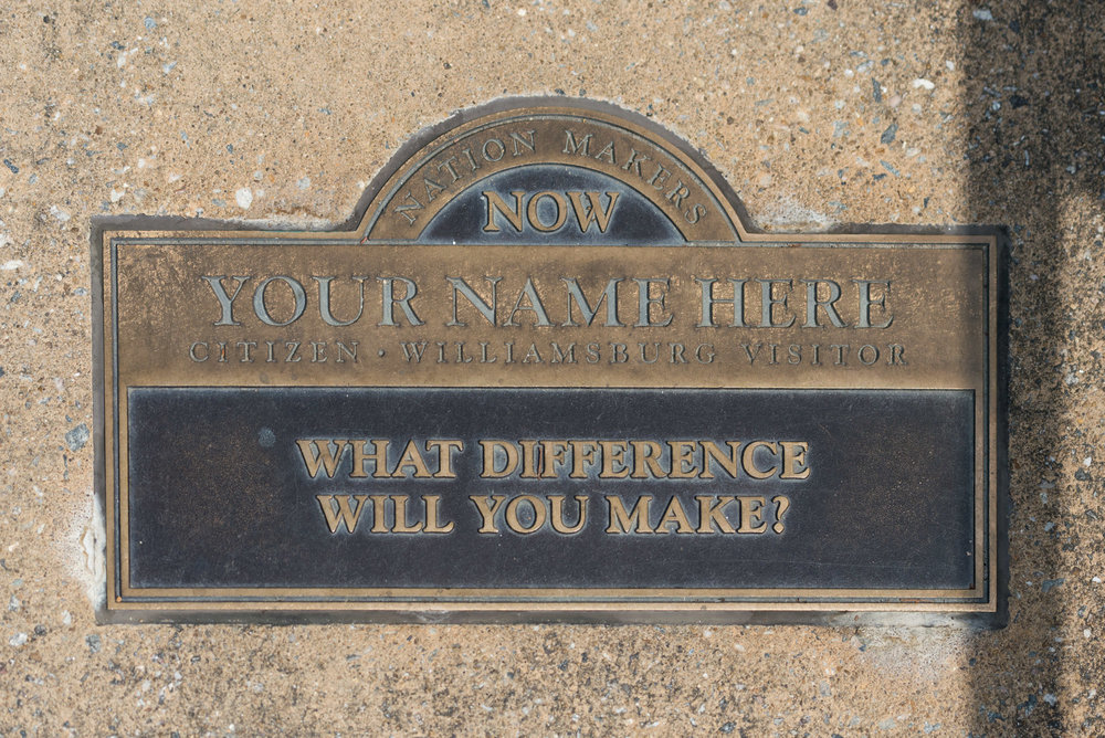 Saw this plaque while visiting Colonial Williamsburg; a probing question.