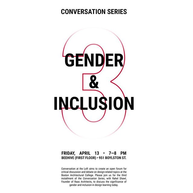 Join us on Friday, April 13th, 7pm at the Beehive for a conversation with Rahel Shawl, Founder of Raas Architects, on the topic of Gender and Inclusion. #conversationattheloft. Please dm for topics that you'd like to see arise! Also collecting thoughts via PostLoft!