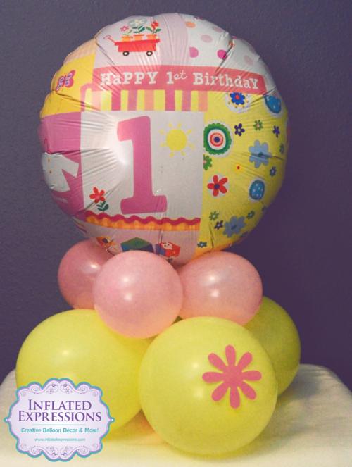 Small 1st Birthday Balloon Centerpiece 20161021181140