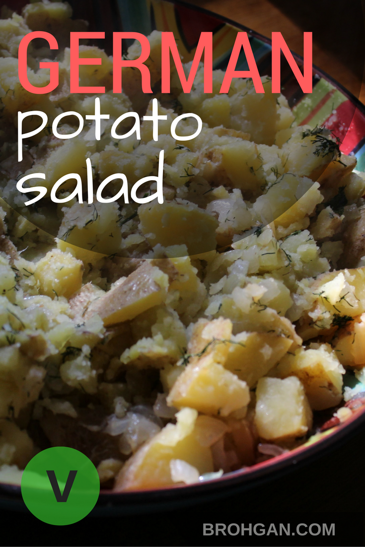Kartoffelsalat, or German potato salad, is traditionally served warm. Fresh dill, sautéed onion, and a hint of vinegar makes this salad delicious while still being light and nutritious. This salad is a great vegan option and dairy and egg free, perfect for any social gathering or potluck. Break free of the gelatinous supermarket potato salad, and enjoy the freshness of the ingredients that brings everyone back wanting more.