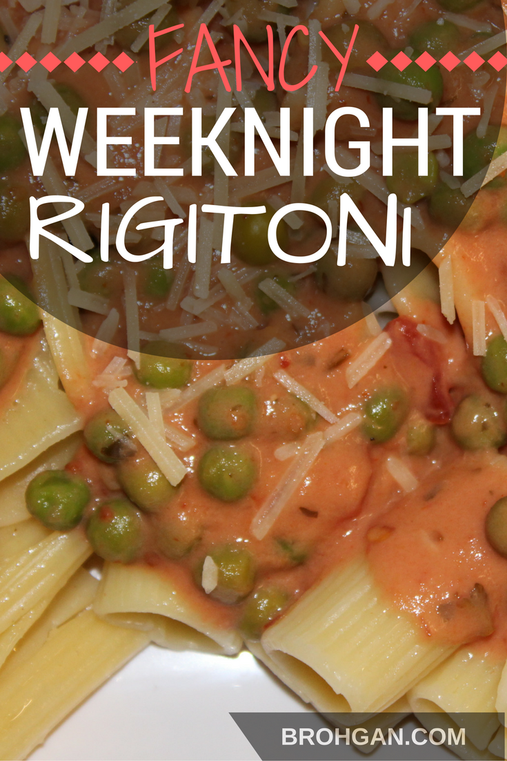 Creamy tomato sauce with a kick over rigatoni pasta. This recipe is easy enough to cook on a weeknight, but fancy enough for our six course dinner that Anna and I served at the Iron Clad in Wamego, Kansas. Best of all, it's budget friendly and all of the ingredients can be found at Aldi grocery stores!