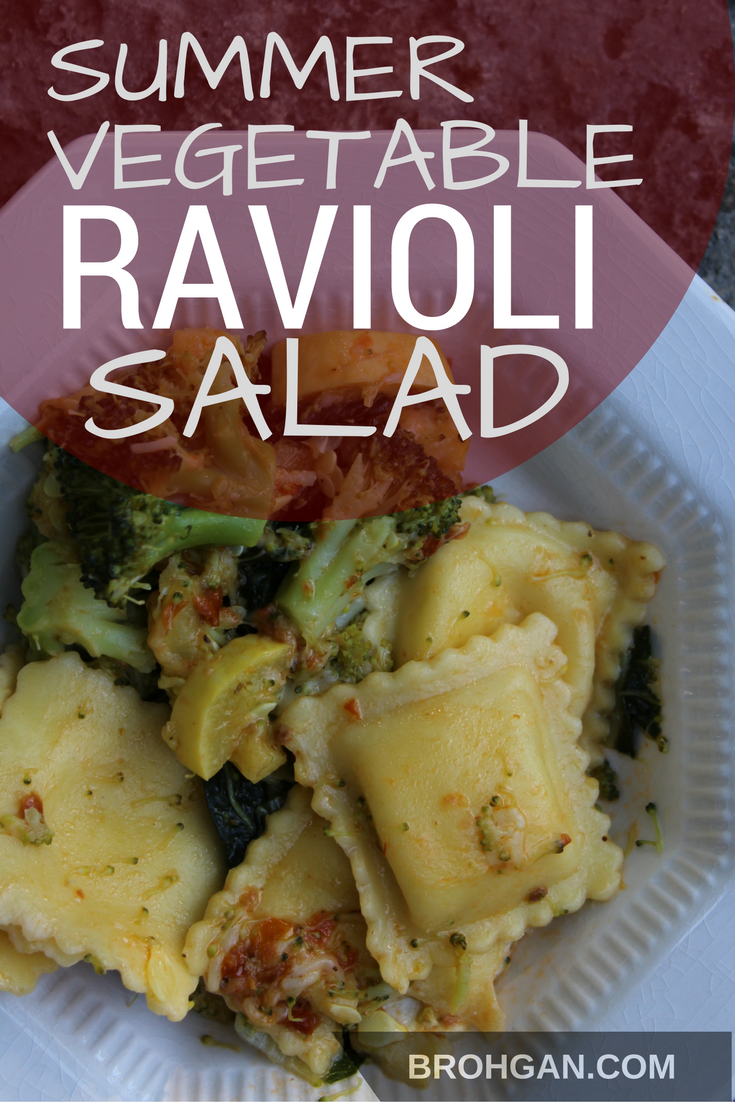 A time saving weeknight dinner to save for the upcoming back to school nights! The simplest of recipes: frozen ravioli, steamed fresh summer vegetables, bottled pesto, and parmesan cheese. So yummy, nobody will believe that it only took minutes! Leftovers make great cold lunches too!
