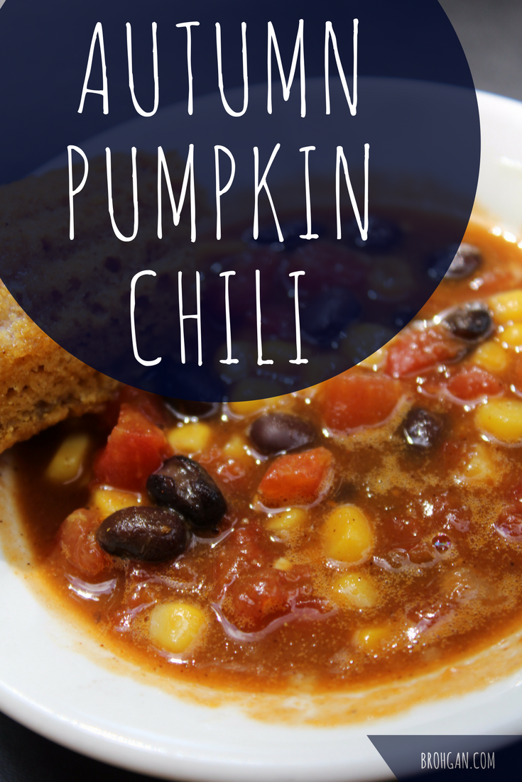 This vegetarian crock pot pumpkin chili recipe is perfect for autumn and football season! This hearty, budget friendly vegetarian chili recipe uses cans from the pantry. It is budget friendly and easy to keep on hand. It is a meal that is quick to make and easy to keep on hand. The black beans and the corn together create a complete protein, and the pumpkin puree in makes it thick and filling. It's perfect as a stand alone meal, or served over baked potatoes or chips.
