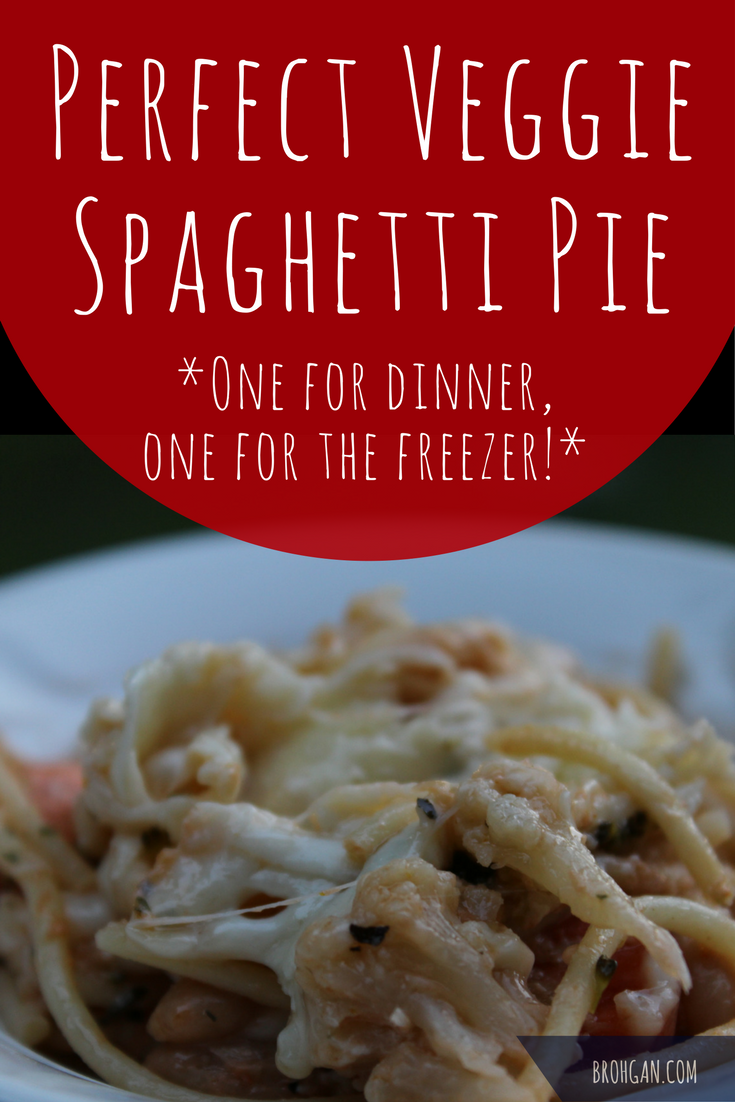 This Perfect Veggie Spaghetti Pie recipe uses frozen vegetables and a quick sauce in the crockpot to create two meals in one! This easy baked cheese casserole is one of our family's favorite comfort foods, and the leftover sauce creates an extremely easy freezer meal to save for later with no extra time. It makes two easy freezer meals for new moms!