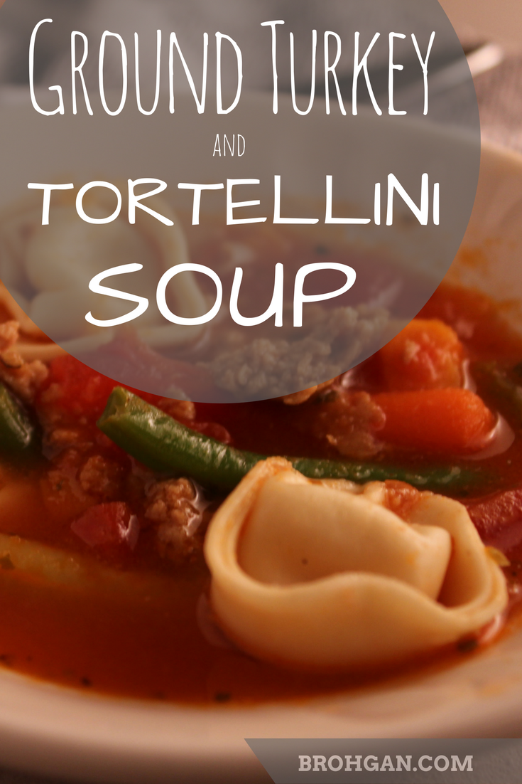 A versatile soup, great for busy families, made of ground turkey, tortellini pasta, vegetables, tomato, chicken broth. An American take on tortellini en brodo, an Italian soup traditionally served at Christmas.