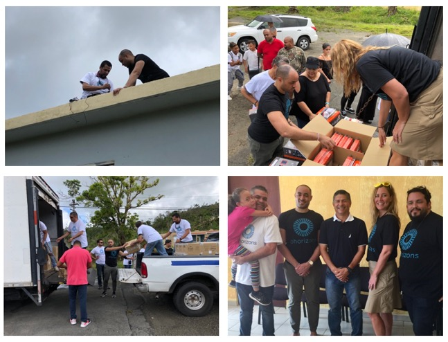We distributed equipment from two central locations, as well as doing house-to-house equipment distribution. (We even installed a full unit in the house of an elderly recipient.) The mayor of Yabucoa, Rafael Surillo (middle person on lower right) provided full support to our team, assigning 5 of his staff members to help in various capacities.