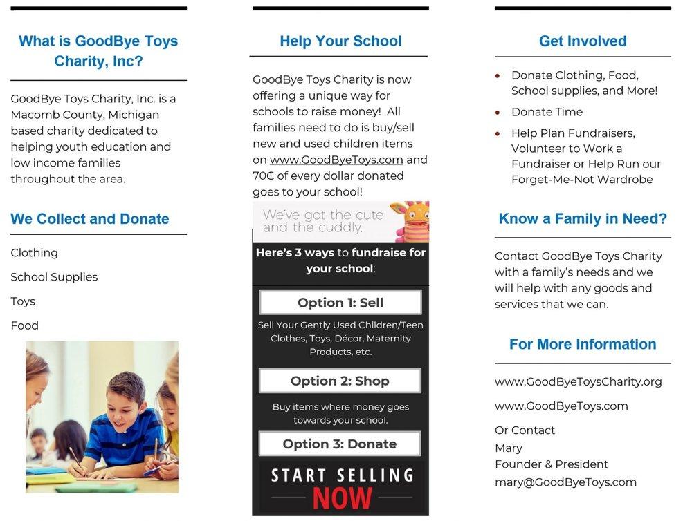 GoodBye Toys Charity Informational Flyer