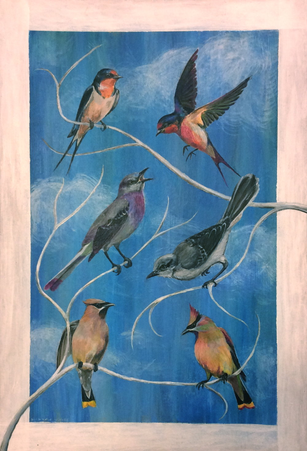 Ultraviolet songbirds - 19.5 X 13acrylic paint and colored pensil on chipboardprints available on request