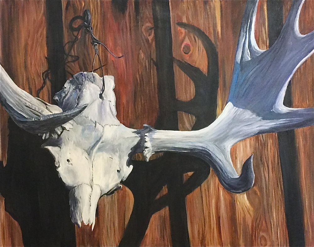 antlers - 22 X 28acrylic paint on canvasprints avialable on request