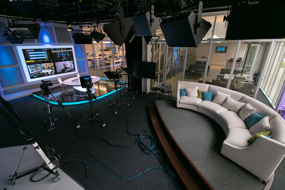 The Oklahoman's studios in downtown Oklahoma City feature multiple sets for interviews and production work. The studio faces into the newsroom and to the street.