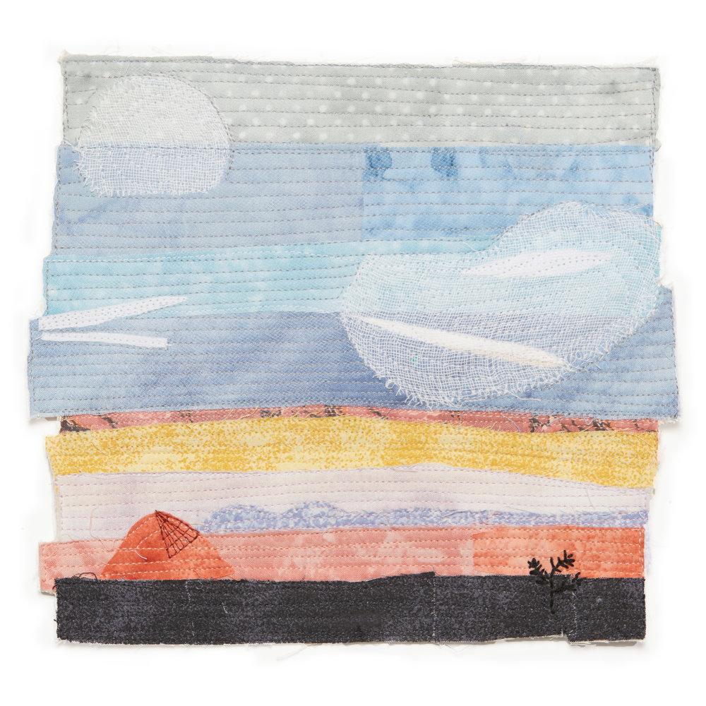 "8.5""x8.5""  Fabric & Thread on Canvas"