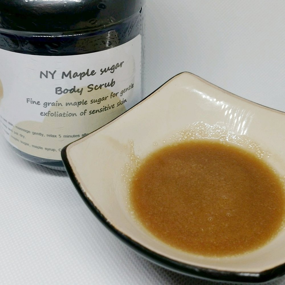 NY Maple - A fine grain gentle sugar scrub using local maple sugar and syrup. This scrub is very gentle on the skin while still being an effective exfoliant. Highly humectant with a clean rinse finish. Best for dry but sensitive skin