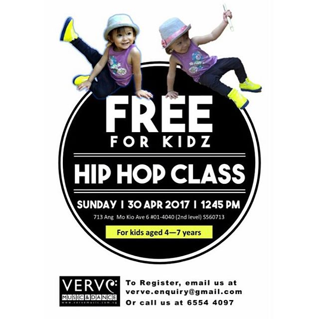 Good news for kids who love to dance! Verve is having a free Kids Hiphop workshop this Sun 30 Apr 2017, at 12.45pm.It's free and you can bring as many friends as u want but places are limited so don't miss out on this rare opportunity. To register, pls call 65544097 or email verve.enquiry@gmail.com and leave your name, age and contact details :) #hiphop #kids #singapore #freeadmission #parents #fun #family #music #dance A $10 refundable deposit needs to be paid before the event days and will be returned to you after the commencement of the event 😉