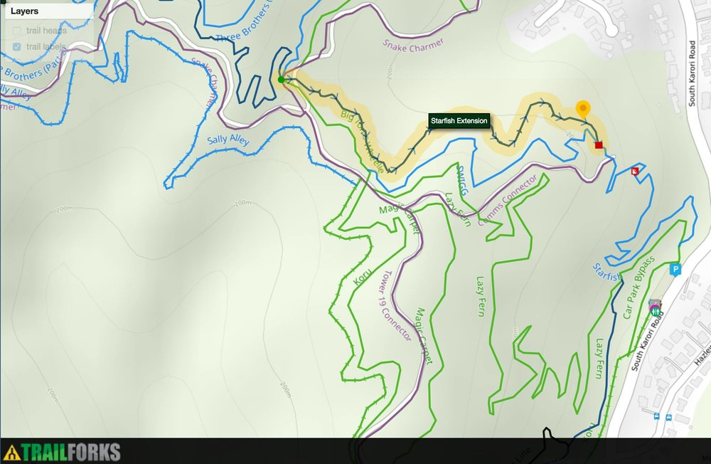 Map showing roughly where the new Starfish will run from the end of Ridgeline Extension through to near the transmitter at the end of SWIGG/start of Starfish