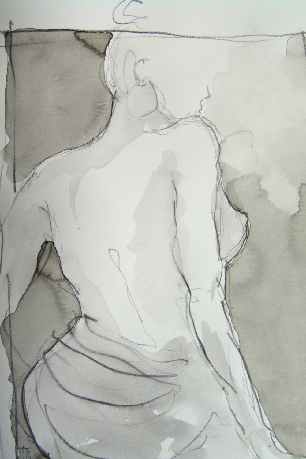 Draped Figure Sketch, Pencil Wash.jpg