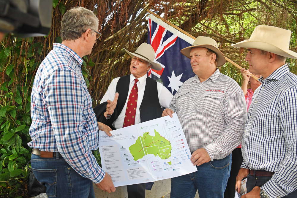 From right: KAP boys Robbie Katter MP, Shane Knuth MP,Bob Katter MP with new federal candidate for Leichardt,Daniel McCarthy.