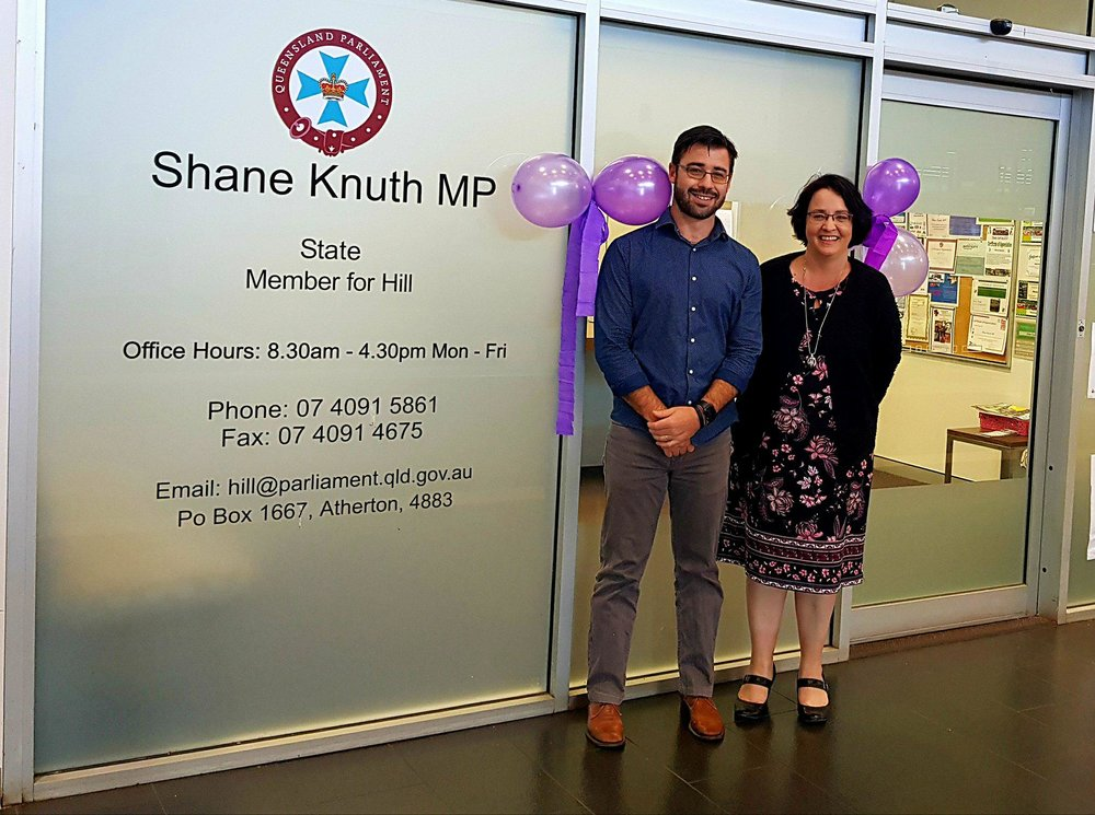 Shane's Chief of Staff Scott with PA Sally outside the Atherton Electorate Office in support of Domestic and Family Violence Prevention Month.