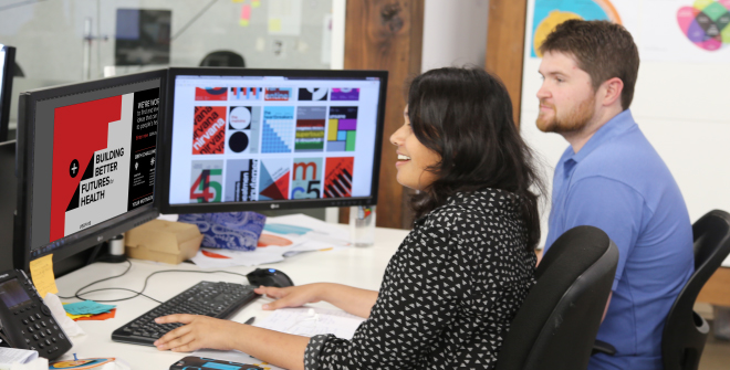 Krutika Harale and Benjamin Dawson working together on the    Building Better Futures for Health Challenge    rebrand
