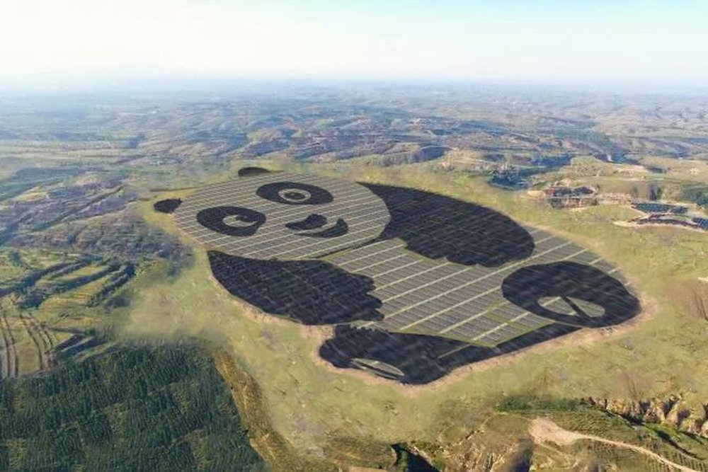 A panda-shaped solar panels array.