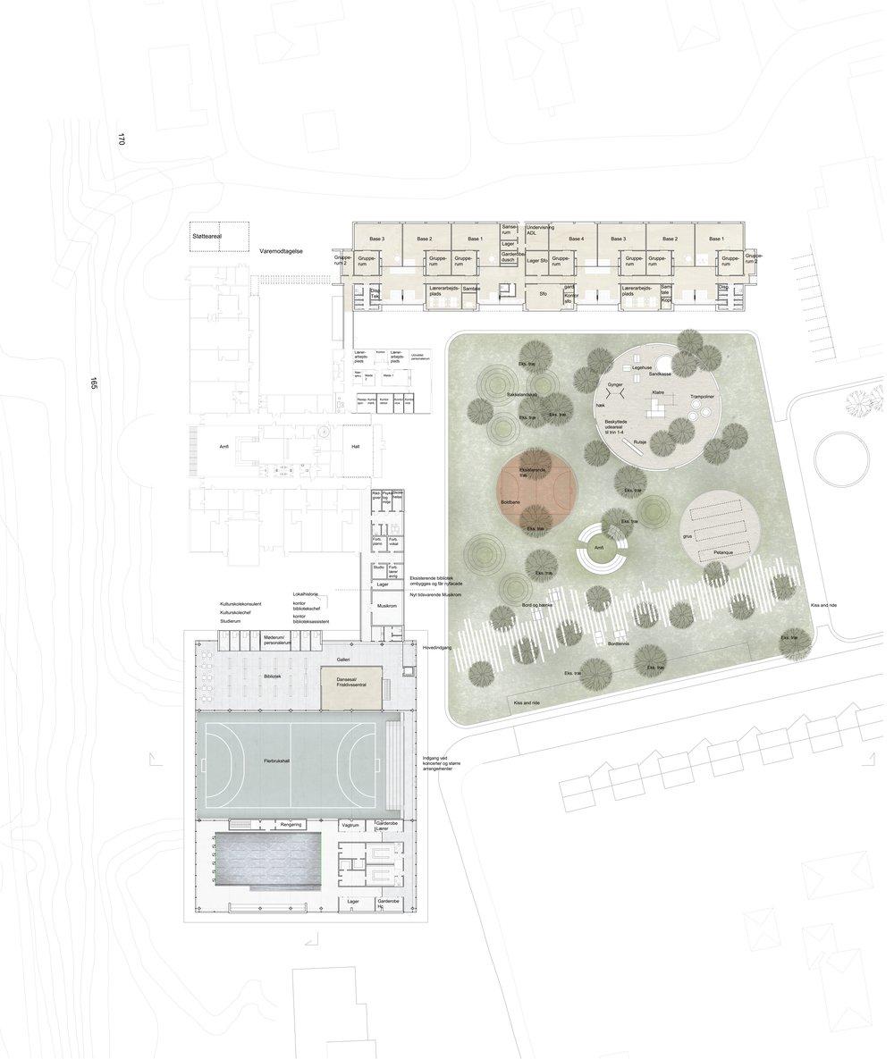 Aktivitetshus, skole og byparken