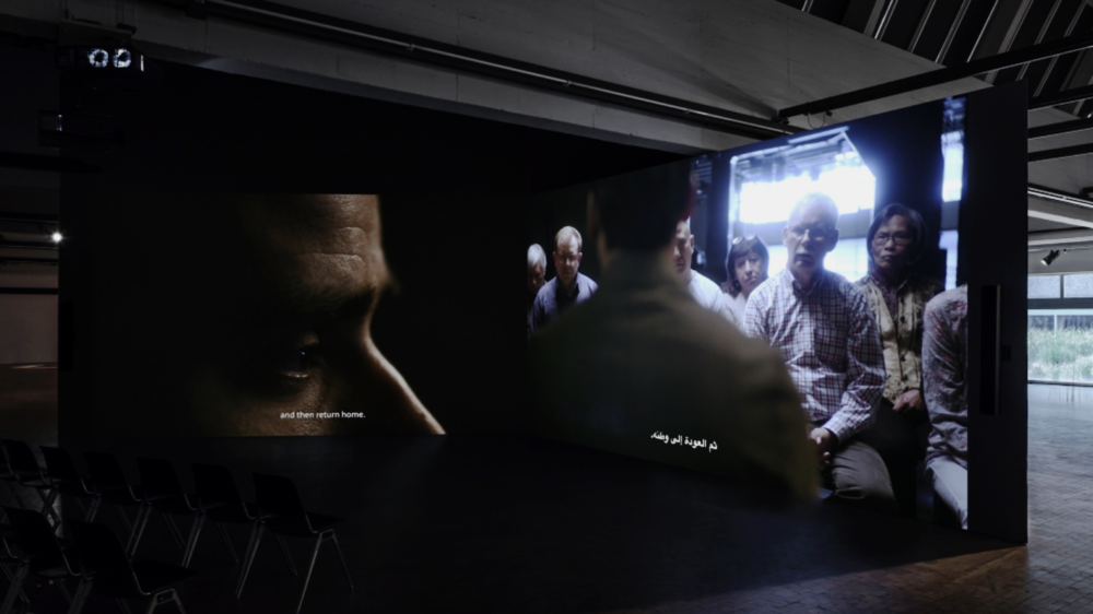 Mario Pfeifer's Again / Noch einmal (2018), a two-channel video installation commissioned for the Biennale, examines one of Germany's recent wounds, writes Jayawardane [Courtesy of Mario Pfeifer/ photo: Timo Ohler]